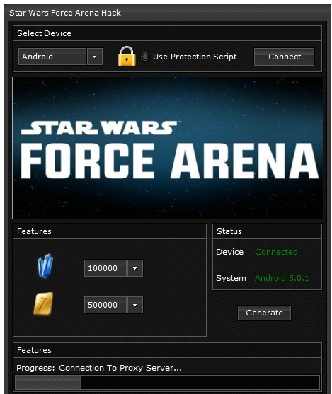 zrzut ekranu z hacka star wars force arena